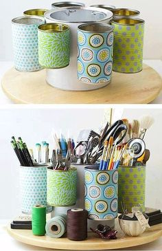 Reciclar Latas // Recycling Tin Cans into pencil box Tin Can Crafts, Fun Crafts, Diy And Crafts, Arts And Crafts, Soup Can Crafts, Coffee Can Crafts, Aluminum Can Crafts, Glue Gun Crafts, Upcycled Crafts