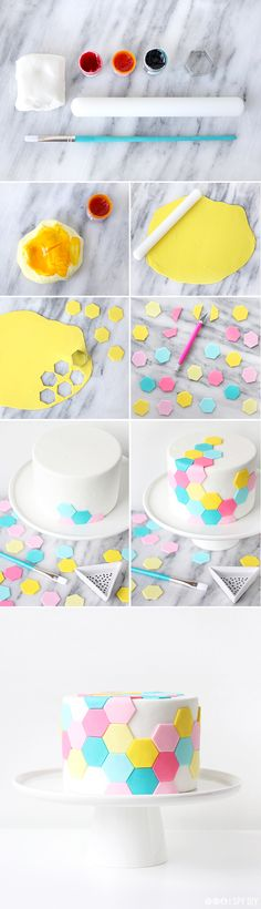 Hexagon tile cake recipe and tutorial Cute Cakes, Pretty Cakes, Beautiful Cakes, Amazing Cakes, Cake Decorating Techniques, Cake Decorating Tutorials, Cookie Decorating, Deco Cupcake, Cupcake Cakes