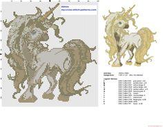 Cream fantasy unicorn cross stitch pattern
