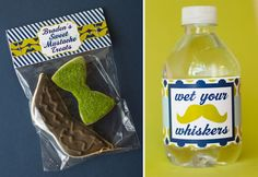 Little Man Mustache Bash Decorations, sugar cookies and water bottle wrap