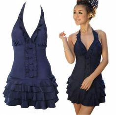 00bd4b6656 Sexy Deep V Swimsuit Ruffle Swimwear One Piece Halter Backless Dress Plus  Size Material:Nylon Color: Deep Blues Pattern: Solids Plus size for your  choice!