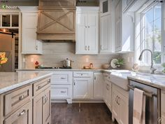 LOVE the X on the range hood! Modern Farmhouse Kitchen Design - Covered Range Hood - Wood with X Design Farmhouse Kitchen Inspiration, Farmhouse Kitchen Island, Kitchen Island Decor, Modern Farmhouse Kitchens, Rustic Kitchen, New Kitchen, Home Kitchens, French Farmhouse, Kitchen Ideas