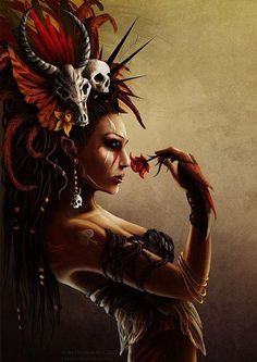 Fantasy Warrior, Dark Warrior, Tribal Warrior, Tattoo Voodoo, Illustrations, Illustration Art, Tattoo Gesicht, Voodoo Costume, Voodoo Halloween