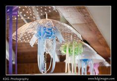 Umbrella with ribbon, bridal shower decor.
