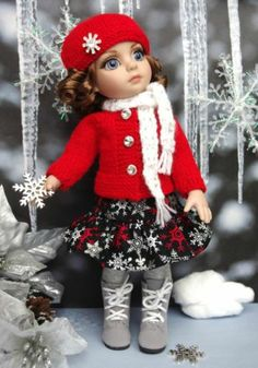 *SNoWFLaKeS n' SPaRKLe*..handknit sweater,hat,scarf,&skirt for Patsy,Ann Estelle