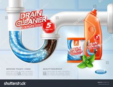 Buy Sanitary Drain Cleaner Poster by macrovector on GraphicRiver. Drain cleaner poster ad with conceptual image of flush tough stains being washed away and product package vector illu. Free Background Photos, Drain Cleaner, Ads Creative, Poster Ads, Branding Materials, Cleaning Materials, Vector Photo, Laundry Detergent, Designs To Draw