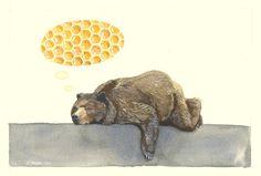 Bear dreams of honey painting.
