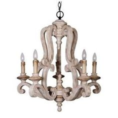 Parrot Uncle Antique Candle-Style Wood Chandelier at Lowe's. Infuse a refreshing cottage feel to your home with this chandelier. Crafted of wood with a distressed antique white finish, this chandelier features a Country Chandelier, Wooden Chandelier, Farmhouse Chandelier, Candle Chandelier, 5 Light Chandelier, Empire Chandelier, Chandelier Ideas, Kitchen Lighting Fixtures, Light Fixtures