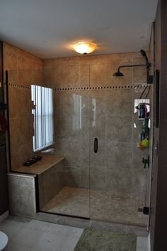 Tub to shower conversion, our old garden tub had a crack, so we wanted to replace it. After I took it out, we decided to turn it into a walk in shower., AFTER - The only thing I didnt do is the glass. , Design