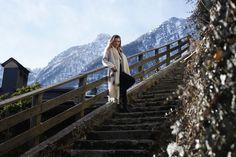 Hallstatt travel post on www.andreamurasan.com  #blog #blogpost #ontheblog #andreamurasan #travel #fashion #outfit Travel Fashion, Railroad Tracks, Stairs, City, Outfit, Blog, Outfits, Stairway, Staircases