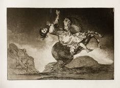 Νο. 10: El caballo raptor (Kidnapping horse). Critics have suggested this woman's euphoria suggests orgasm. Goya's Los Disparates (aka. Follies/ Proverbs/ Dreams) is a series of prints in aquatint & etching with retouching in drypoint & burin, 1815-23. Oppressive political climate especially during the Inquisition made publishing the series impossible until after Goya's death, 1864. Issues tackled in the 22 print series include political issues, traditional proverbs & Spanish carnival.