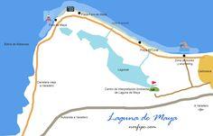 Mapa con la ubicación de Laguna de Maya, las vías de acceso y las playas y lugares de interés en el área