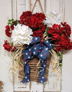 Patriotic Decor Red and white begonia door hanger This new spring patriotic door basket is now avail Fourth Of July Decor, 4th Of July Decorations, 4th Of July Party, 4th Of July Wreath, July 4th, Patriotic Wreath, Patriotic Crafts, July Crafts, Flag Wreath