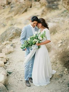 Photo by Erich McVey, Styling by Ginny Au, Ribbon by Froufrou Chic, Florals by Ashley Beyer, Blue wedding Ideas, Rubicon NYC Gown, J Crew Suit