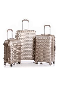 Palazo Portofino 3-piece diamond pattern spinner luggage set in champagne http://short.socl.co/145251711928250368