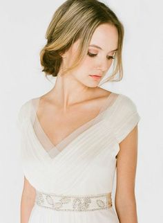 soft cap sleeves with a v neck