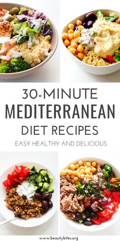 30 Mediterranean Diet Recipes That Take 30 Minutes Or Less - Beauty Bites 30 Mediterranean diet recipes you can make in 30 minutes or less! Packed with fresh ingredients these dinner recipes are healthy and super delicious! Easy Mediterranean Diet Recipes, Mediterranean Dishes, Med Diet, Meditranian Diet, Dukan Diet, Diet Meal Plans, Easy Healthy Recipes, Healthy Eating, Dinner Recipes