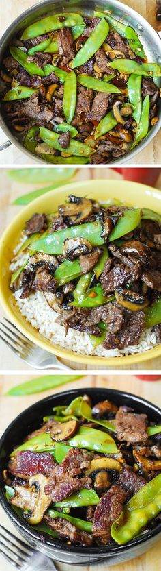 Asian Beef with Mushrooms & Snow Peas in a homemade Asian sauce – delish and easy-to-make! Tender mushrooms, crisp snow peas, and thinly sliced sirloin steak strips sautéed in garlic.