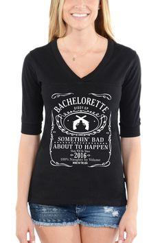 Bachelorette Jack Daniels Style - Football V-Neck Tee