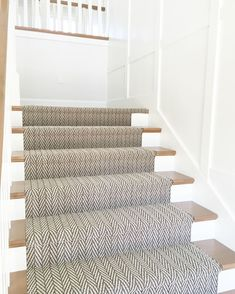 An elegant stair runner from Tuftex Carpets of California. Product name is Only Natural Photo courtesy of @emilyadamsondesign