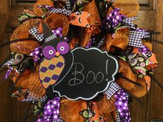 """Giveaway"" Halloween Owl Write Your Own Message orange, black, purple deco mesh wreath. Go to http://www.facebook.com/deanasdecodesigns for a chance to win. Can only be shipped in the US."