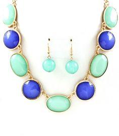 Blue and Mint Bubble Statement Necklace - Cozy Couture