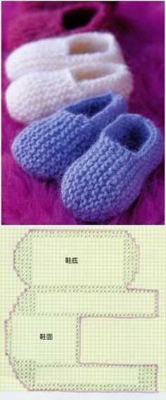 Knitwear scheme of slippers. Knitted sneakers for beginners … – Baby knitting patterns Baby Knitting Patterns, Crochet Socks Pattern, Knitting For Kids, Knitting Stitches, Knitting Socks, Baby Patterns, Knit Crochet, Knitted Booties, Knit Shoes
