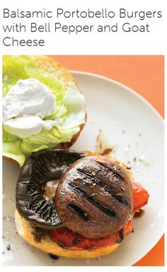 Meatless Monday with Balsamic Portobello Burgers with Bell Peppers and Goat Cheese served with Zucchini Fries