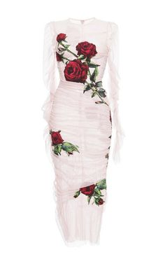 Ruched Tulle Rose Applique Sheath Dress by Dolce & Gabbana for Preorder on Moda Operandi