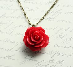 Red Rose Necklace Red Flower Pendant Resin by apocketofposies