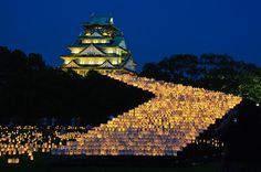 A display of lanterns leading up to Osaka castle. Japanese Lantern Festival, Beautiful In Japanese, Japon Tokyo, Vietnam, Osaka Castle, Japanese Castle, Japan Architecture, Japanese Culture, Japan Travel