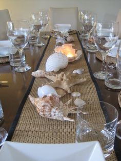 Beach-themed table would be beautiful for an Eat Clean in 2014 dinner
