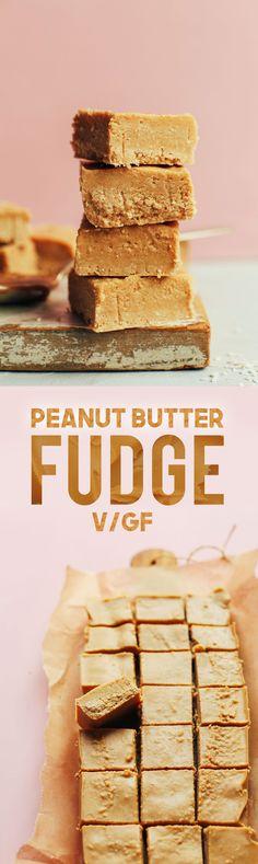 HEALTHY 4-Ingredient Peanut Butter FUDGE! 4 INGREDIENTS, naturally sweetened, SO delicious! #vegan #glutenfree #plantbased #peanutbutter #dessert #minimalistbaker #recipe