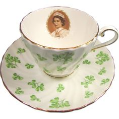 Rare Aynsley Coronation Shamrock Cup and Saucer offered by the Old Stone Mansion on Ruby Lane. Vintage Tea, Etsy Vintage, Irish Tea, Royal Tea, Old Stone, My Tea, China Porcelain, Stone Mansion, Cup And Saucer