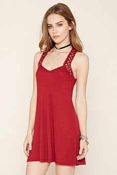 Embroidered-Eyelet Cami Dress