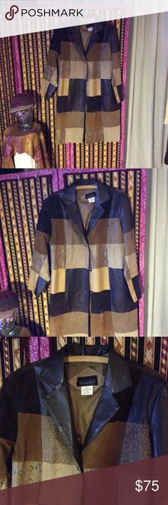 Selling this Vtg leather and suede patchwork coat on Poshmark! My username is: patriciamildred. #shopmycloset #poshmark #fashion #shopping #style #forsale #Viva Accenti #Jackets & Blazers