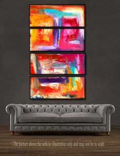 """$159.99. 'Color Drop'- 48"""" X 30"""" Original Abstract Art Painting. Everyone knows that accessories complete the home. With several pieces of paintings to choose from, your search for a perfect, one of a kind original artwork for your walls ends here.You don't need to settle for anything less than a perfect look. Enjoy free-shipping throughout USA, Free hanging hardware and 30-day return."""