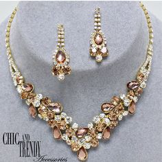 STATEMENT GOLD CRYSTAL PROM WEDDING FORMAL NECKLACE JEWELRY SET CHIC TRENDY #Unbranded