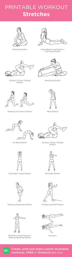 Stretches:my visual workout created at WorkoutLabs.com • Click through to customize and download as a FREE PDF! #customworkout: