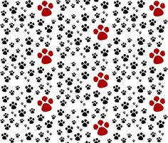 Paw Prints  MED - red black fabric by drapestudio on Spoonflower - custom fabric