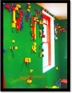 Lego Wall; I would so this to one of the walls in my future son's room