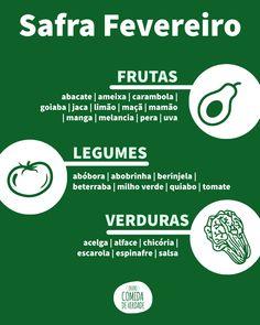 Confira as melhores frutas, verduras e legumes para incluir na sua lista de compras de fevereiro. Salsa, Grocery Lists, Okra, Nutrition Tips, February, Recipes, Food Items, Food, Salsa Music