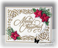 The beautfy of gold is always classy on holiday cards!. The flowers add the perfect touch of beauty to finish the card. Details at http://classycardsnsuch.blogspot.com/2015/10/golden-christmas.html