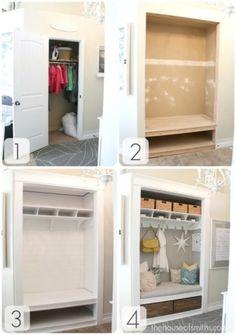 Entryway Closet Makeover - The Reveal! Project: Entryway Closet Makeover - The Reveal!Project: Entryway Closet Makeover - The Reveal! Front Closet, Closet Mudroom, Closet Bench, Closet Nook, Closet Space, Sliding Door Closet, Entryway Bench, Open Entryway, Pipe Closet