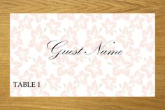 Floral place card template 001-017 by WeddingTemplatesHub on Etsy