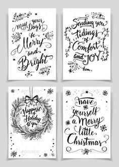 Buy Christmas Calligraphy Greeting Cards Set by StockIllustrator on GraphicRiver. Greeting cards bundle in black isolated on white background. A unique set of calligraphic greeting cards and flyers f. Christmas Greeting Cards, Christmas Greetings, Etiquette Vintage, Christmas Art, Diy Cards, Making Ideas, Card Making, Flyers, Calligraphy Christmas