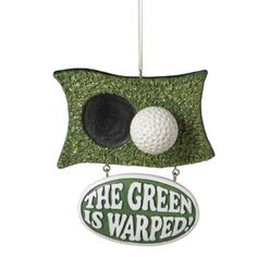 Warped Green & Golf Ball Christmas Ornament