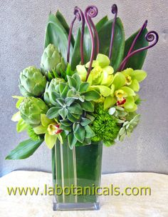 orchids, fiddler fern, artichokes, trick dianthus, spearmint or succulents
