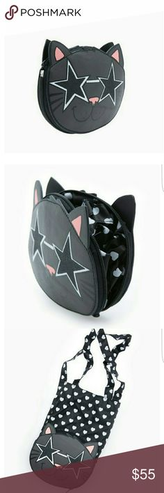 Starry Eyed Kitty Convertible Tote Please see pics.  This amazing Kitty Cat bag changes from a small clutch to a beautiful tote!  It's like magic!  Perfect for the club or bar or a day of shopping...carry it small with your credit card and license and then just open and pull out the inner lining to make this a large tote!  NWT Boutique Bags Totes
