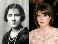 the Queen mum and Princess Eugenie.  Royal lookalikes. Great-Grandmother and great-granddaughter.